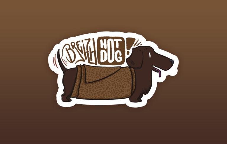 illustration sticker galette saucisse breizh hot dog