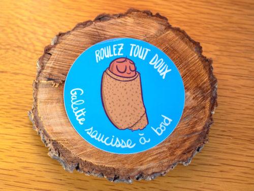 Sticker – Galette saucisse à bord (Bleu)