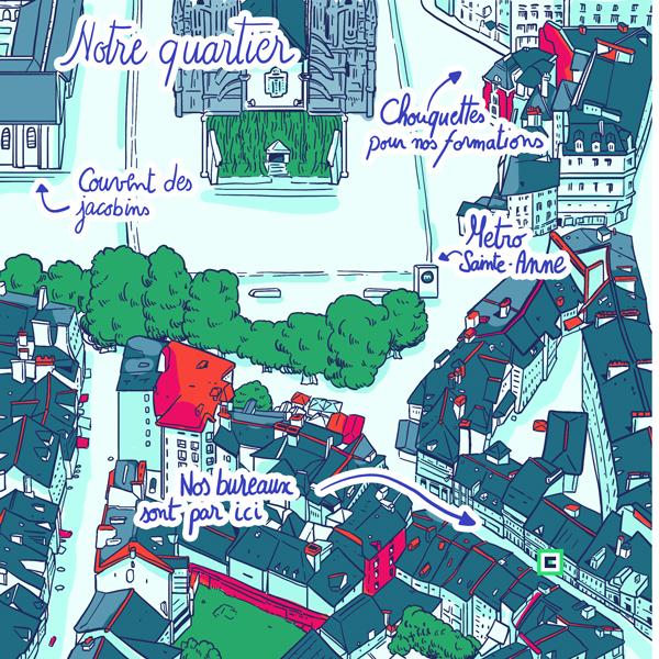 Plan de Rennes illustration place des lices