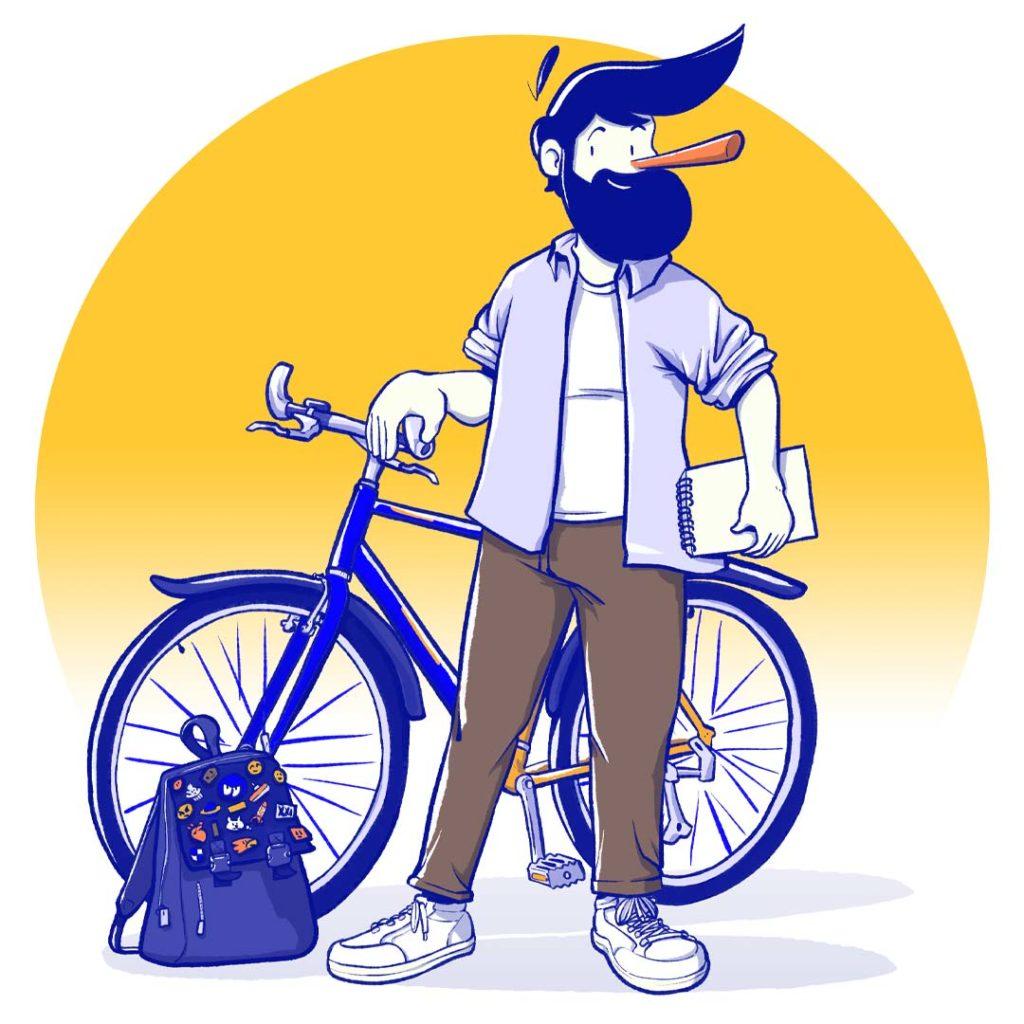 Illustration à propos - passion vélo, dessin et petits pin's