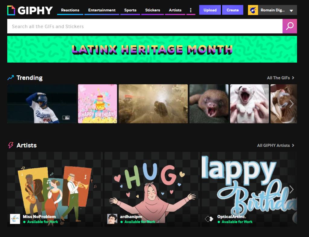 Page d'accueil de Giphy